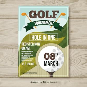 Flyer de tournoi de golf dans le style plat