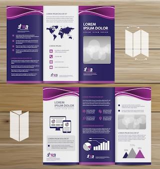 Flyer tri fold brochure leaflet ensemble de conception vectorielle