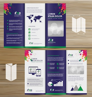 Flyer tri fold brochure leaflet ensemble de conception vectorielle