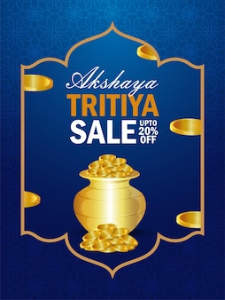 Flyer de vente akshaya tritiya sur un pot de pièces en or créatif
