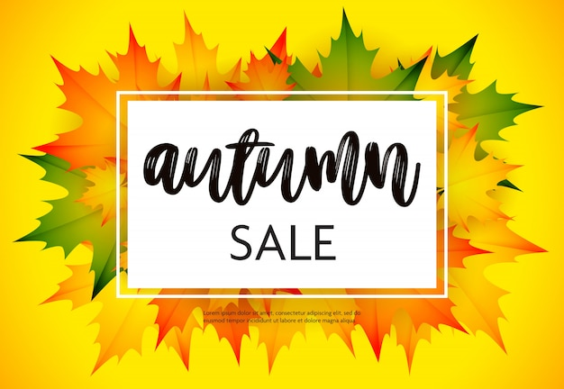 Flyer de vente d'automne avec jaune