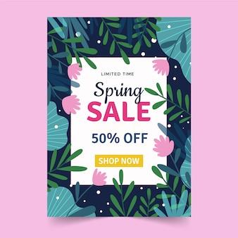 Flyer de vente de printemps modèle dessiné à la main