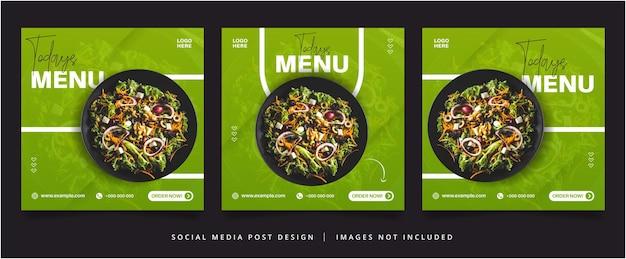 Flyer vert du menu d'aujourd'hui ou bannière de médias sociaux