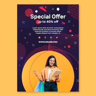 Flyer vertical d'achats en ligne
