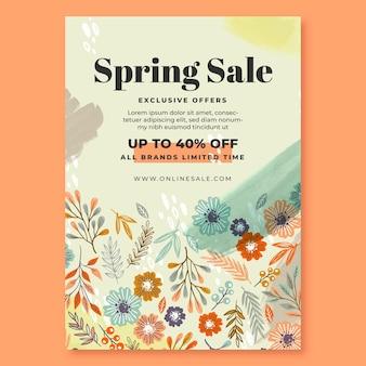 Flyer vertical de vente de printemps dessiné à la main