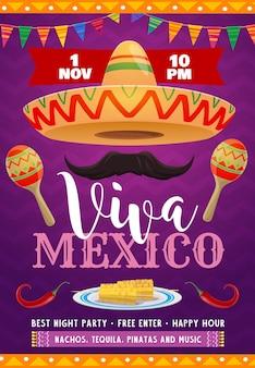 Flyer viva mexico avec sombrero mexicain
