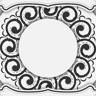 Flyer de voeux blanc avec motif indien noir