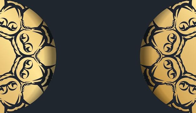 Flyer de voeux de couleur noire avec motif doré vintage pour votre conception.