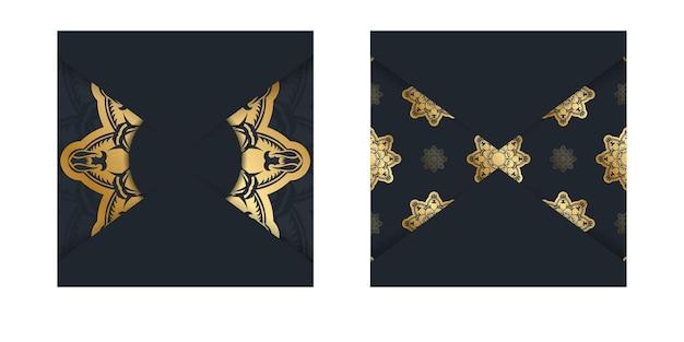 Flyer de voeux de couleur noire avec motif doré vintage pour votre marque.