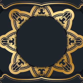 Flyer de voeux de couleur noire avec ornement vintage en or pour votre marque.