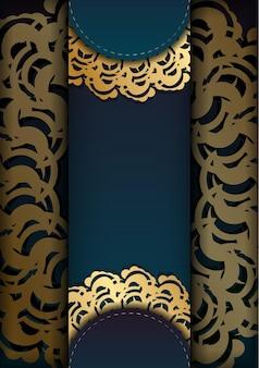 Flyer de voeux dégradé vert avec ornement en or grec pour votre marque.