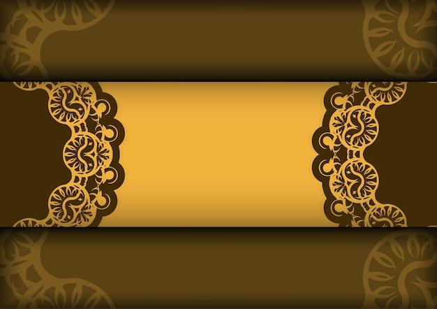 Flyer de voeux en jaune avec motif brun grec préparé pour la typographie.