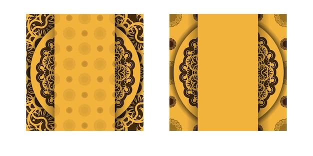 Flyer de voeux jaune avec motif mandala marron préparé pour la typographie.