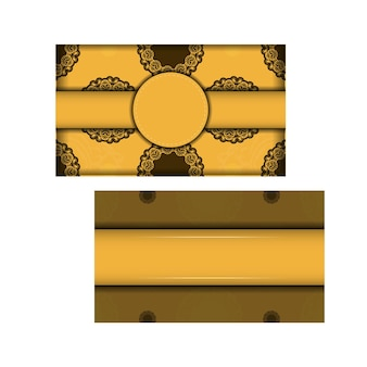 Flyer de voeux jaune avec motif marron grec pour votre conception.