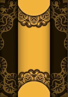 Flyer de voeux en jaune avec motif marron grec pour votre marque.