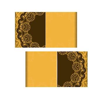 Flyer de voeux jaune motif marron indien pour votre marque.