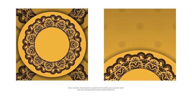 Flyer de voeux en jaune avec ornement marron vintage pour votre marque.