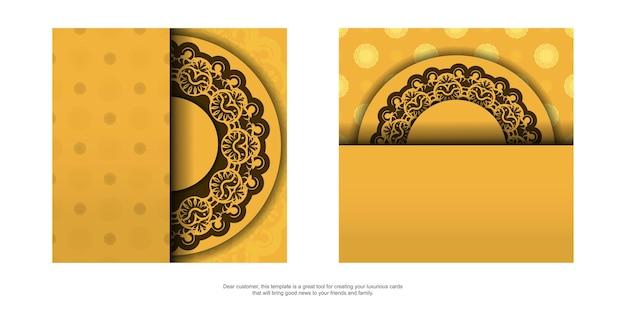 Flyer de voeux jaune avec ornement marron vintage préparé pour la typographie.