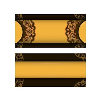 Flyer de voeux en jaune avec des ornements bruns grecs pour votre conception.