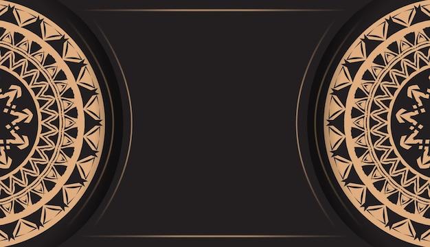 Flyer de voeux noir avec motif mandala marron