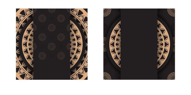 Flyer de voeux noir avec motif vintage marron