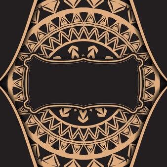Flyer de voeux noir avec ornement de mandala marron