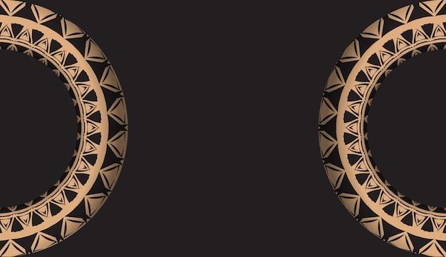 Flyer de voeux noir avec ornement vintage marron