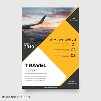 Flyer de voyage jaune moderne