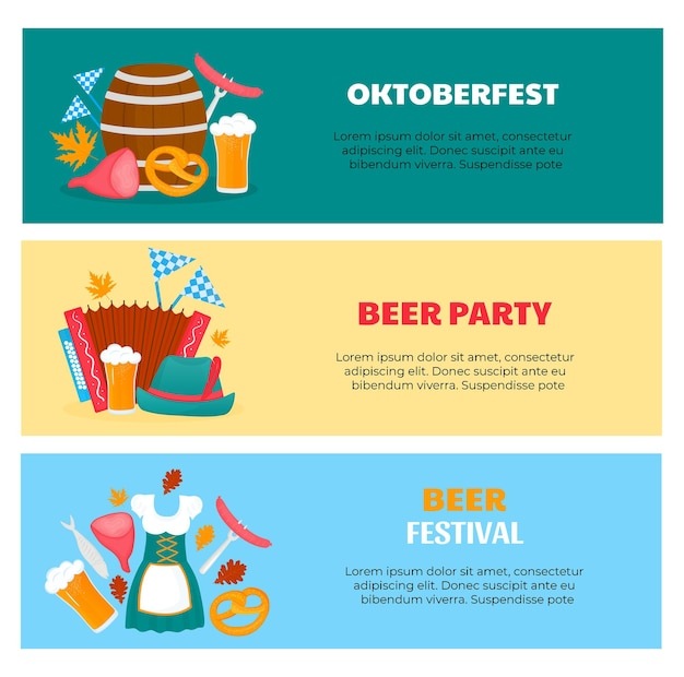Flyers du festival bavarois oktoberfest avec verres et baril de bière bretzel dirndl et accordéon t