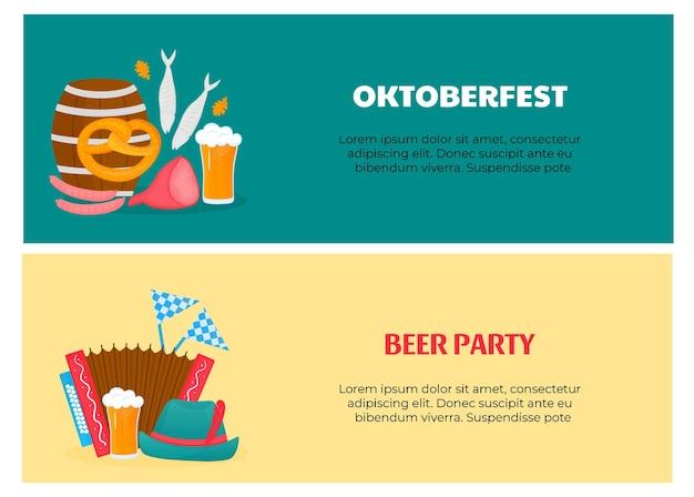 Flyers du festival bavarois oktoberfest avec verres et baril de bière bretzel saucisses poisson accordéo