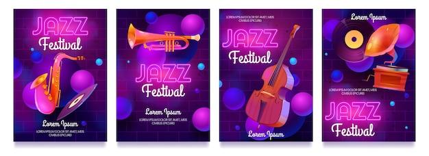 Flyers De Festival De Jazz De Dessin Animé Vecteur gratuit