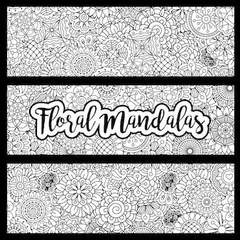 Flyers horizontaux avec des mandalas floraux