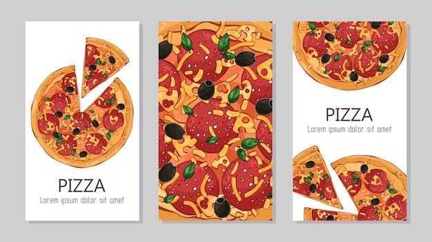 Flyers modèle pour les produits publicitaires: pizza.