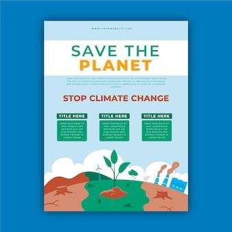 Flyers plats dessinés à la main sur le changement climatique