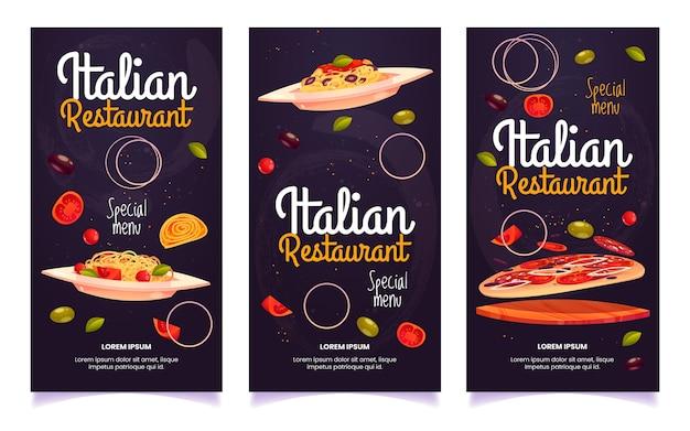 Flyers de restaurant italien de dessin animé