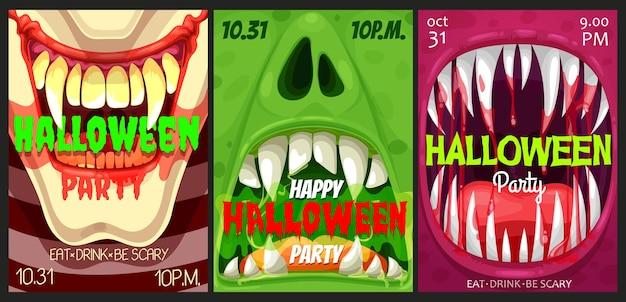 Flyers de vecteur de fête d'halloween avec des bouches de monstre. affiches d'invitation à l'événement de la nuit d'horreur happy halloween avec des mâchoires à pleines dents ouvertes avec des dents pointues, de la salive dégoulinante, du sang et des langues, un jeu de cartes de dessin animé