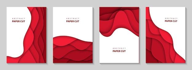 Flyers verticaux avec des formes de vagues découpées en papier rouge