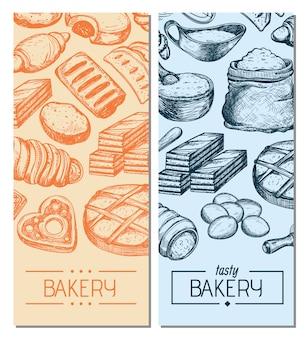 Flyers vintage de produits de boulangerie faits maison