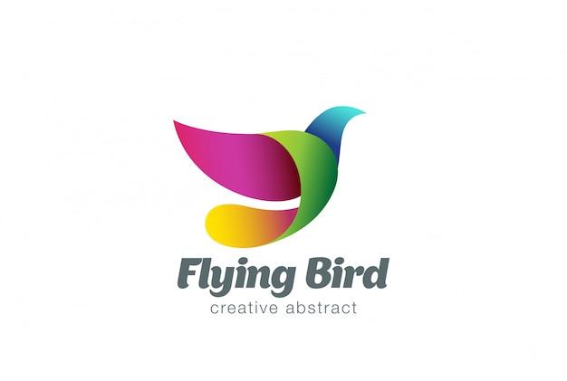 Flying bird abstract logo vector icon.