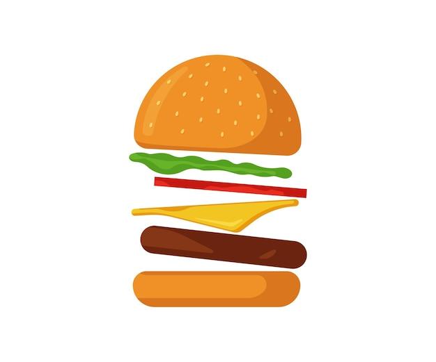 Flying burger fast food icône isolé hamburger dispersé avec des verts d'arc de tomate boeuf frit juteux