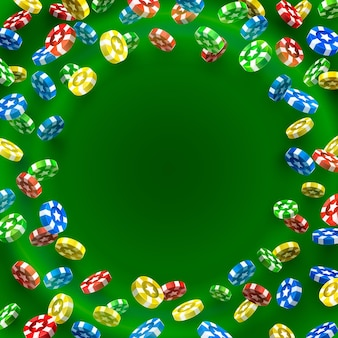 Flying chips casino sur fond vert. illustration vectorielle