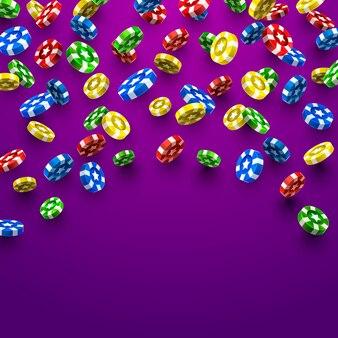 Flying chips casino sur fond violet. illustration vectorielle