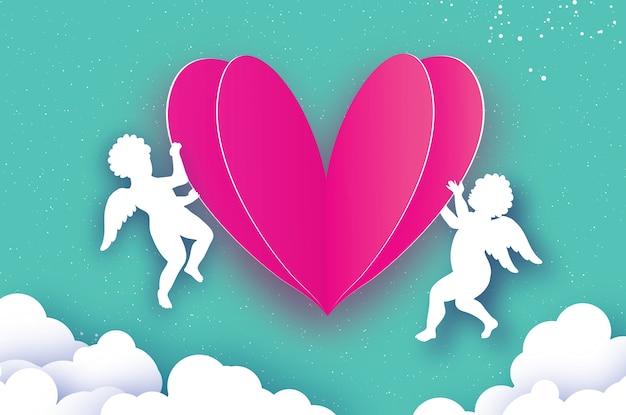 Flying cupids - anges de l'amour avec coeur rose d'amour dans le style de papier découpé