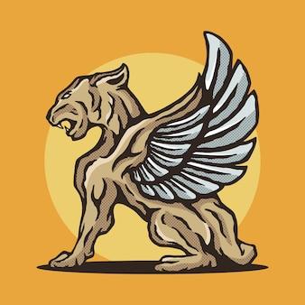 Flying lion illustration premium