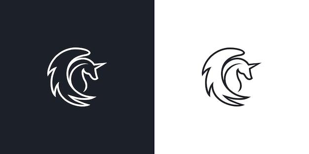 Flying pegasus line logo icône vector illustration