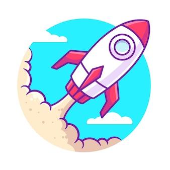 Flying rocket cartoon illustration isolé vaisseau spatial logo vector icon illustration dans un style plat
