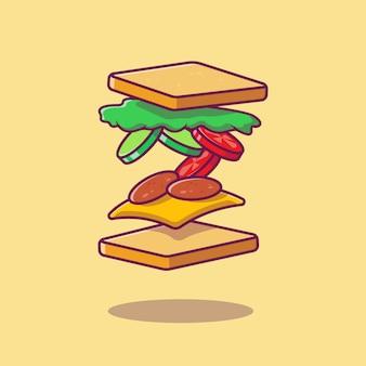 Flying sandwich ingredient cartoon illustration.