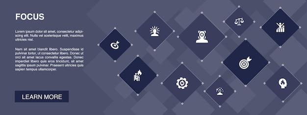 Focus bannière 10 icônes concept.target, motivation, intégrité, processus d'icônes simples