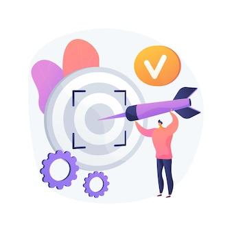 Focus illustration vectorielle concept abstrait. concentration de la formation, concentration sur le succès, objectif commercial défini, orientation sur la cible, centre d'attention, point focal, métaphore abstraite du projecteur.
