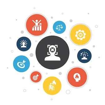 Focus infographic 10 étapes pixel design.target, motivation, intégrité, processus d'icônes simples